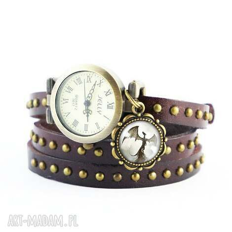 bransoletka, zegarek - smok cienia brązowy, nity, skórzany, bransoletka