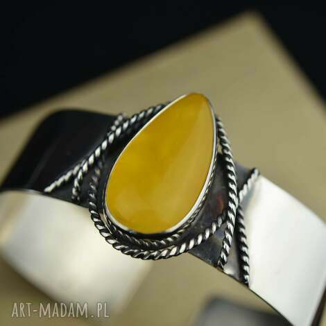 sztywna bransoleta z bursztynem srebro, bursztyn, bransoleta, bransoletka