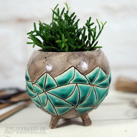 ceramiczna doniczka - osłonka ręcznie robiona i malowana - doniczka ceramiczna