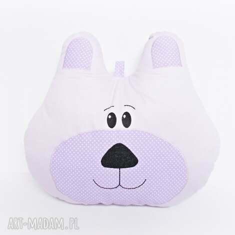 poduszka dekoracyjna miś fioletowy - dla niemowlaka, prezent na urodziny, prezent dla