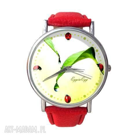 biedronki - skórzany zegarek z dużą tarczą, zegarek, skórzany, biedronki, liście
