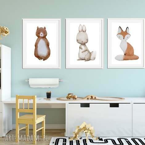 zestaw 3 plakatÓw a3 cudne zwierzaki - zwierzaki, niedźwiedź, zajączek