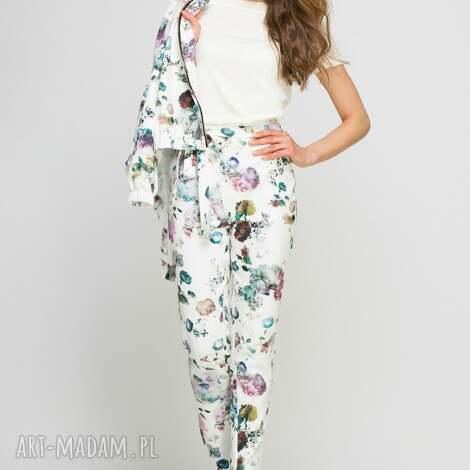 lanti urban fashion spodnie, sd113 kwiaty, wstążka, szarfa, wysokie, pasek