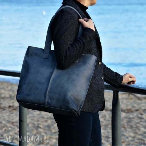 na ramię szaro niebieska torba ze skóry, torba, torebka, ramię, do