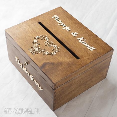 księgi gości pudełko na koperty - koronkowe serce, pudełko, koperty, drewno, eko