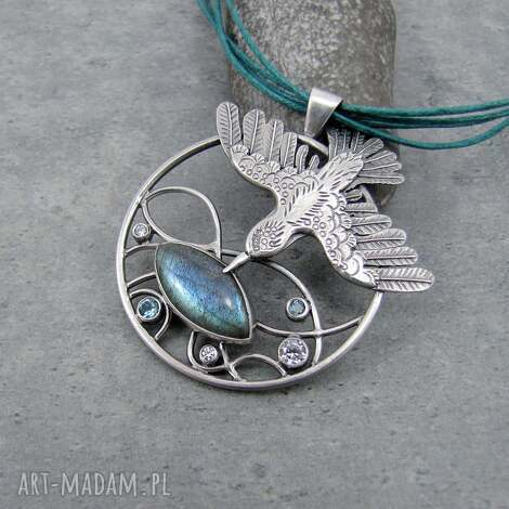 zdobycz oryginalny, okrągły, ptak, naturalny labradoryt srebro