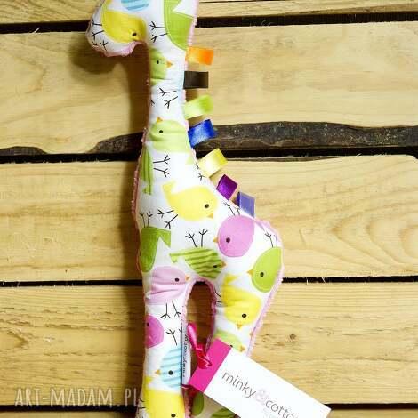 mięciutka żyrafka- minky bawełna - ptaszki, zabawka, pluszak, minky, bawełna, prezent
