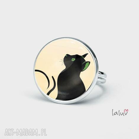 pierścionek kot czarownicy, czarownica, magia, grafika, zwierzę, kocur, rękodzieło
