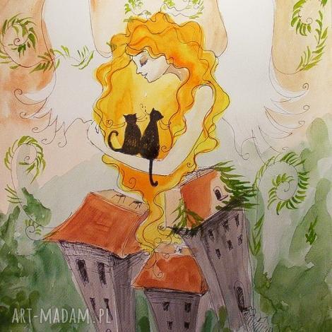 dekoracje anielski opiekun akwarela artystki plastyka adriany laube, anioł, kot