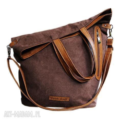 torba brązowy zamsz, torba, duża, shopper, torebka