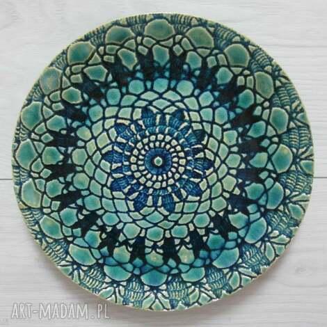 turkusowy koronkowy talerzyk, talerz, ceramiczny, koronkowa