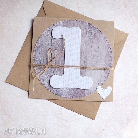 na roczek natural kartka handmade, roczek, urodziny, urodzinki