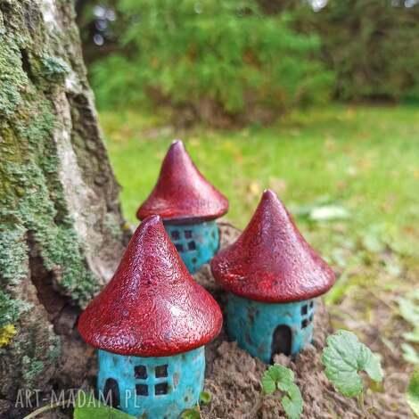 domki grzybki, ceramika, grzyby, domki, las, iglaki, lasy w butelkach, wyjątkowe