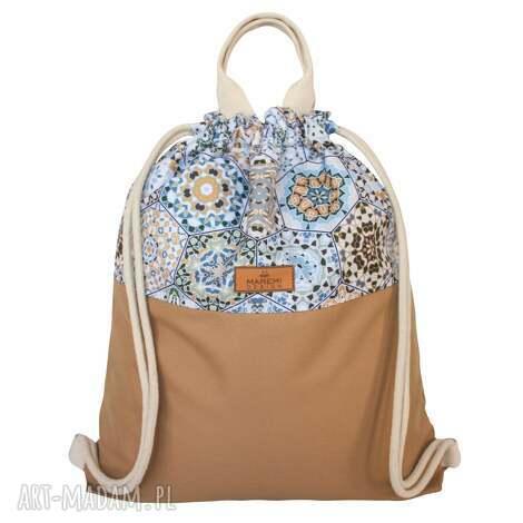 wodoodporny plecak heksagony na karmelu, worko plecak, plecako worek, worek