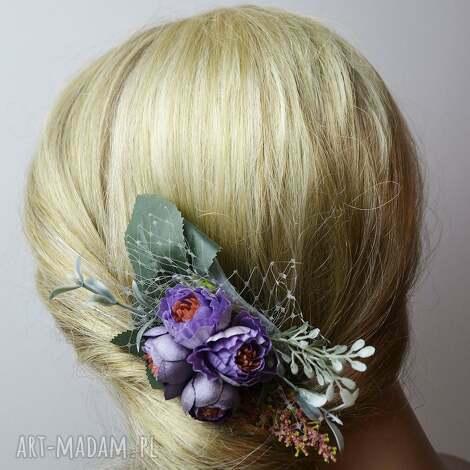 ozdoby do włosów grzebyk wiosenny, grzebyk, wiosna, fiolet, wesele, ślub