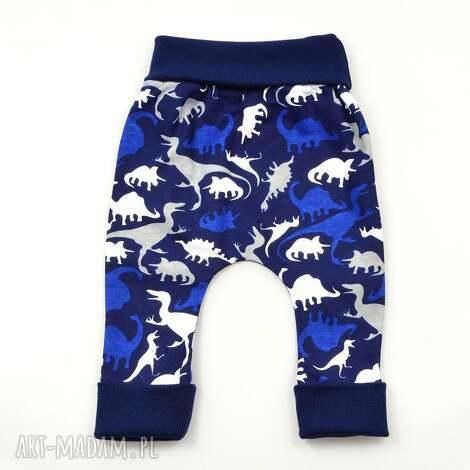 dinozaury baggy chłopięce, bawełniane spodnie dla niemowląt, rozmiary 56-98