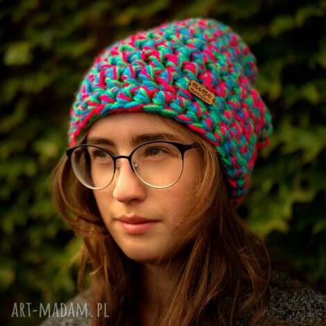 czapka hand made no 038 beanie szydło - czapka szydełkowana, czapka zimowa