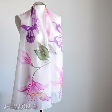 malowany jedwabny szal -lilie i motyle - jedwabny, malowany, ręcznie, szalik, jedwabny