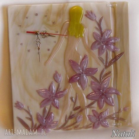 artystyczna kompozycja ze szkła - zegar poranek, szklo, zegary, kobieta, kwiaty