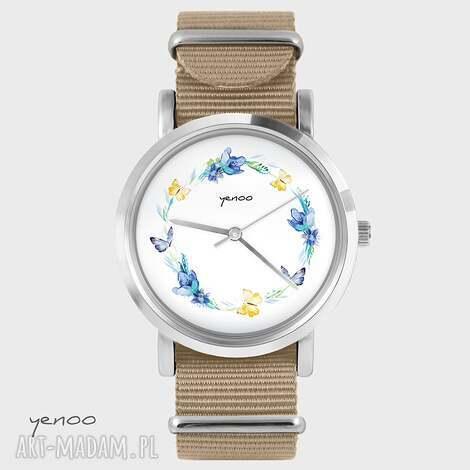 zegarek, bransoletka - wianek, motyle beżowy, nato, bransoletka, nato