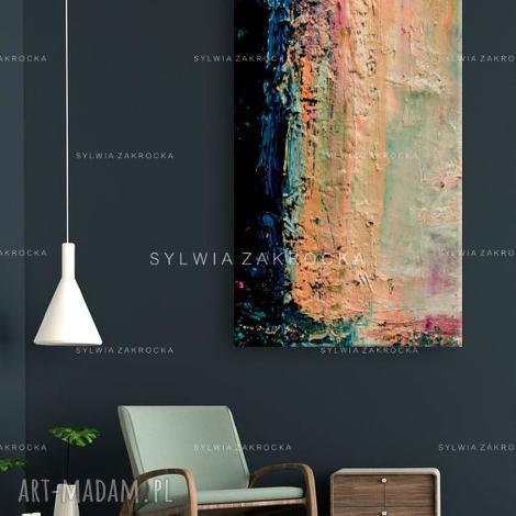 740c88276431f4 duzy obraz do salonu pastelowe wariacje - pastelowe kolory, obraz na płótnie