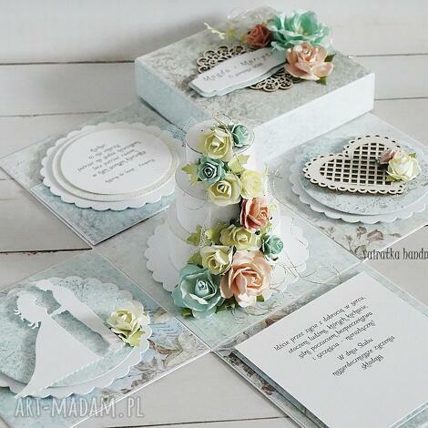 ślubny exploding-box z tortem - na zamówienie (exploding box, prezent ślubny)