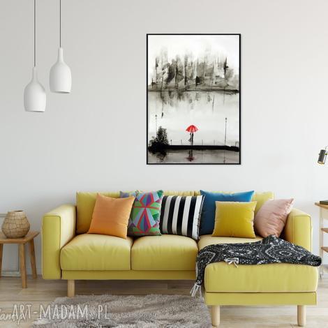 obraz ręcznie malowany, akwarela 70x100 cm, abstrakcja, plakat romantyczny