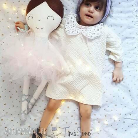 lalka ręcznie robiona melania xl różowe dodatki, bawełna, lalki dla dziecka
