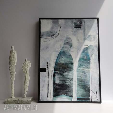 obraz abstrakcja w ramie odcienie niebieskiego 50 x 70, ręcznie malowany