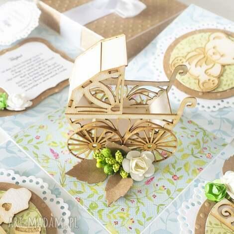 exploding box - pamiątka chrztu, wózek, chrzest, chłopiec, kartka