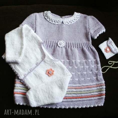 pod choinkę prezent, ubranka komplet liliowy, komplet, rękodzieło, bawełna, niemowlę