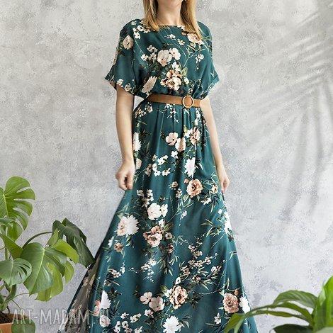 3b135c1252 sukienki sukienka zielona maxi w kwiaty