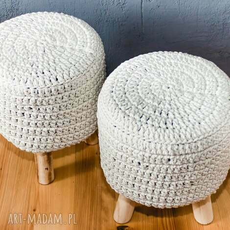 pufy stołek puf scandi ze sznurka bawełnianego, puf, stołek, podnózek, pufa, szydełko