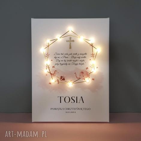 pamiątka chrztu obraz led słoń pastelowy róż akwarela złoty krzyż prezent
