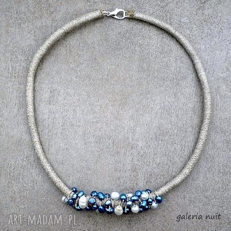 perły i len v 2 - naturalny naszyjnik - perełki, perły, hodowlane, lekki