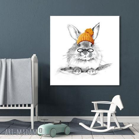 obraz gotowy do powieszenia zajęczek w czapie format 80x80cm (króliczek obraz)