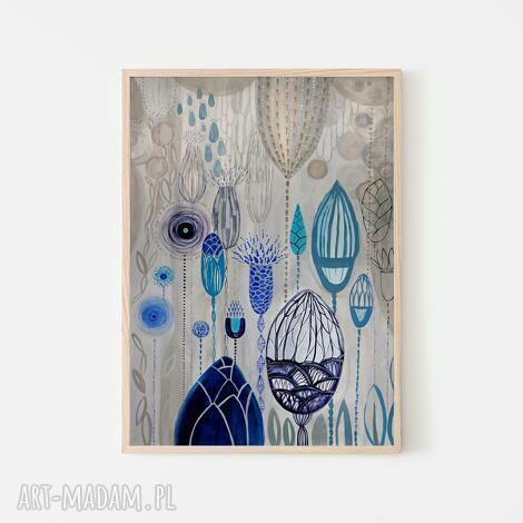 plakaty plakat 100x70 cm - błękitna łąka, plakat, wydruk, kwiaty, niebieskie