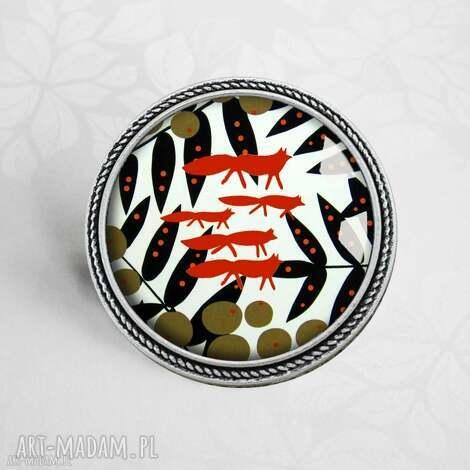 oryginalna broszka z lisami - broszka, okrągła, lisy, zwierzęta, animal