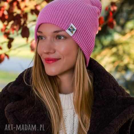 wywijana dwustronna logo kolorowe kwarcowy róż czapka damska, czapka