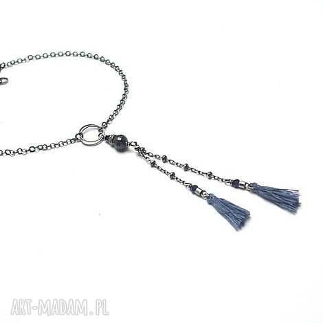 troki vol 2 /bohosapphire/ - bransoletka, srebro, oksydowane, szafir, szafiry