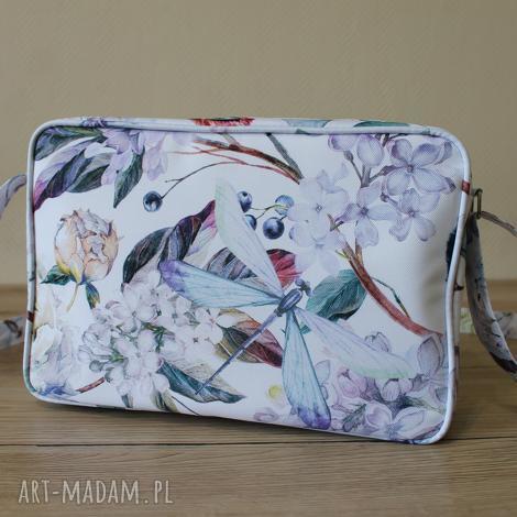 na ramię single bag - ważka, elegancka, bzy, kwiaty, prezent, święta