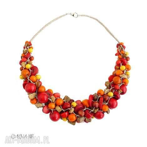 jesień w kolorze słońca naszyjnik, biżuteria autorska, naszyjnik koral