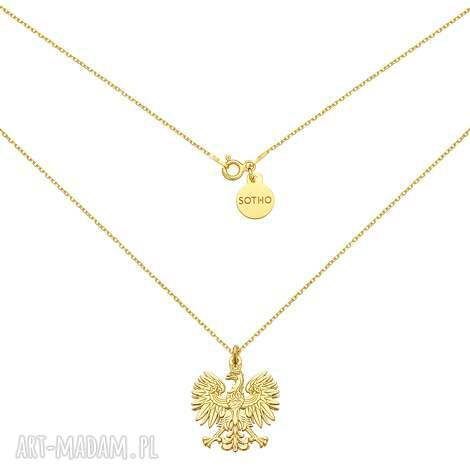 złoty naszyjnik z orłem - naszyjnik, łańcuszek, orzeł
