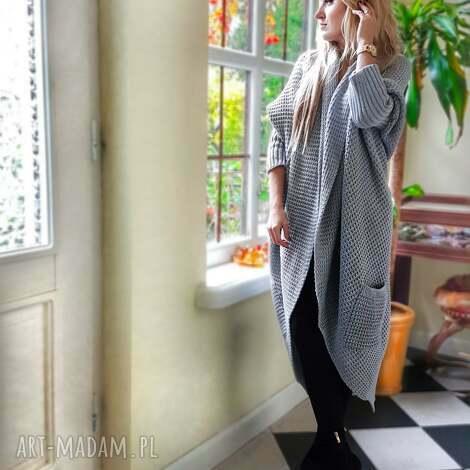 długi gruby sweter w kolorze szarym, długi-sweter, sweter, gruby-sweter