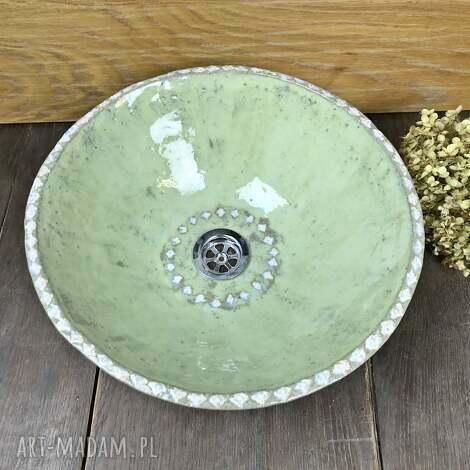 ceramiczna zielona umywalka, polskie rzemiosło, polska ceramika, ręcznie