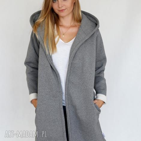 l - xl płaszcz z kapturem szary melanż, bawełna, dzianina, wiosna, eko