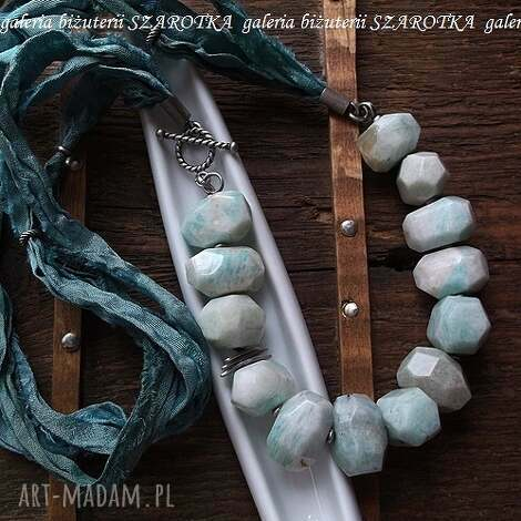 bŁĘkit nieba naszyjnik z amazonitów, jedwabiu i srebra - amazonit, jedwab
