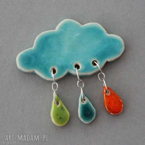 chmurka i krople deszczu- broszka ceramika (minimalizm, prezent design praca, jeansy)