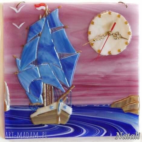 artystyczna kompozycja ze szkła - zegar fregata, szklo, zegary, dom, fusing
