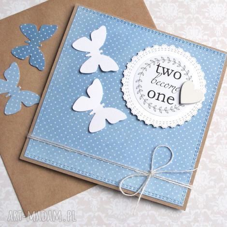 kartka ślubna motyle light blue, ślub, motyle